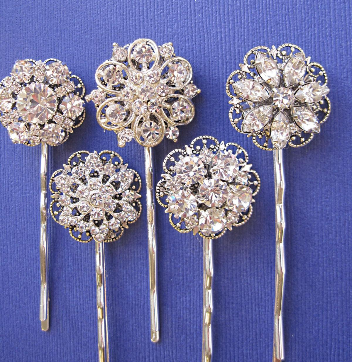Wedding Accessories, Hair Pins, 5 Hair Pins, Rhinestone hair accessories, Hair Pins, Bobby Pins, U pins