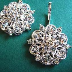 "Wedding Earrings, Silver, Rhinestone Floral Earrings, Bridal Jewelry, ""Silver Petals Collection"""